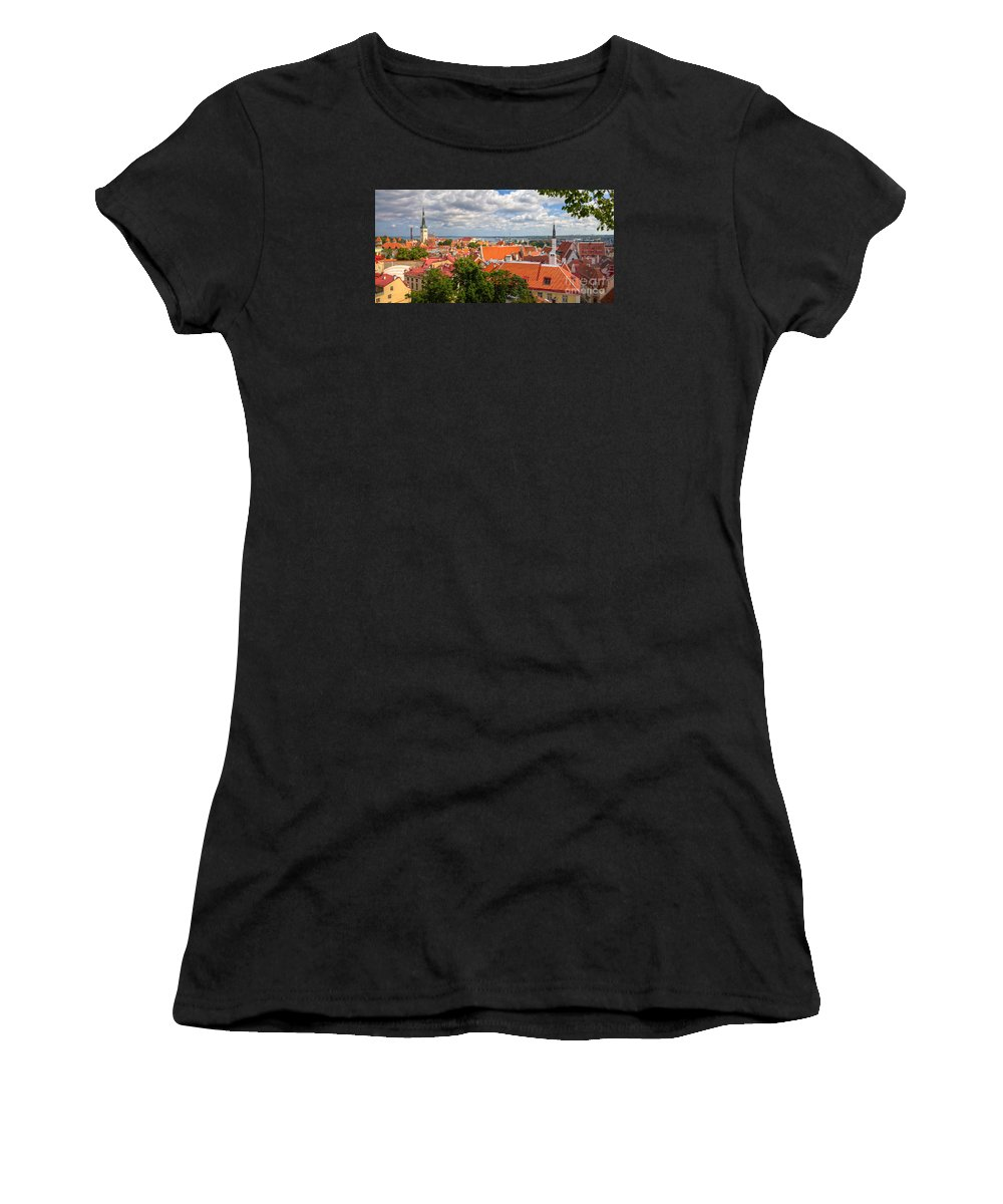 Clare Bambers Women's T-Shirt (Athletic Fit) featuring the photograph Tallinn Skyline And Harbor. by Clare Bambers