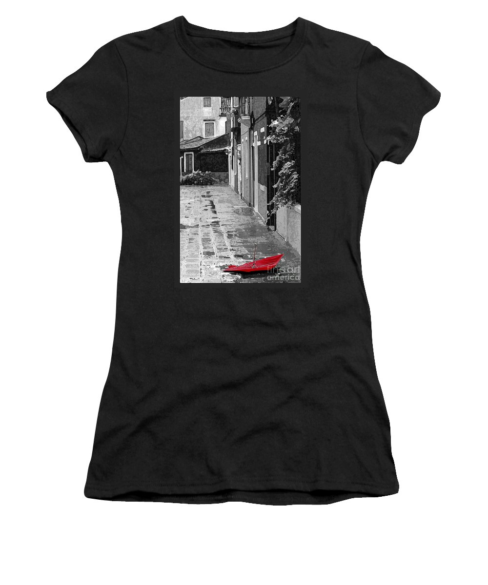 Umbrella Women's T-Shirt featuring the photograph The Abandoned Umbrella by Mike Nellums