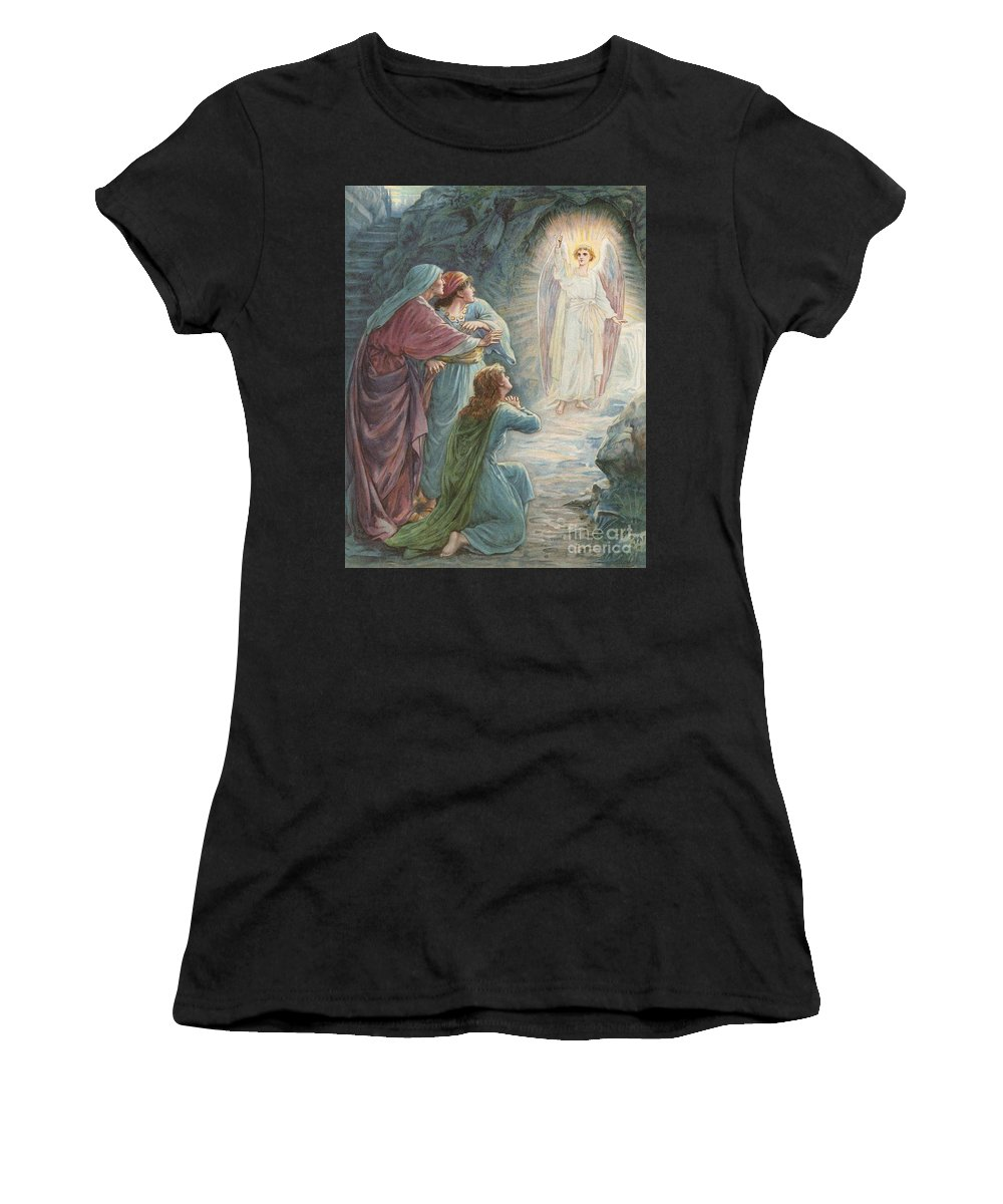 Bible Stories; Biblical; The Appearance Of The Angel Jesus Christ; Resurrection Women's T-Shirt (Athletic Fit) featuring the painting The Appearance Of The Angel by Ambrose Dudley