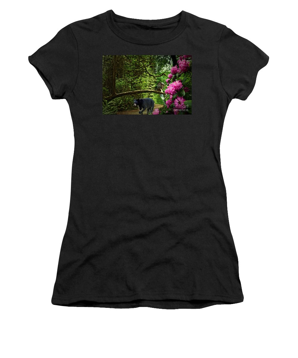 Mountain Women's T-Shirt (Athletic Fit) featuring the digital art The Bear Went Over The Mountain by Lianne Schneider
