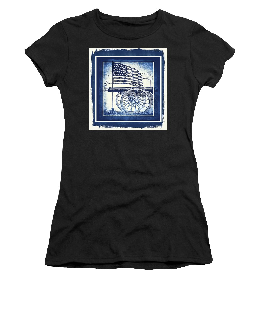Usa Women's T-Shirt (Athletic Fit) featuring the mixed media The Bombs Bursting In Air Blue by Angelina Vick
