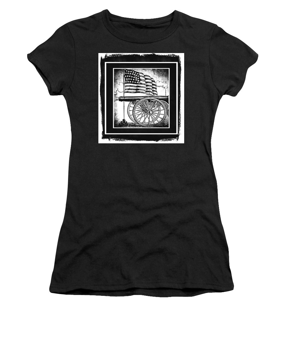 Usa Women's T-Shirt (Athletic Fit) featuring the mixed media The Bombs Bursting In Air Bw by Angelina Vick