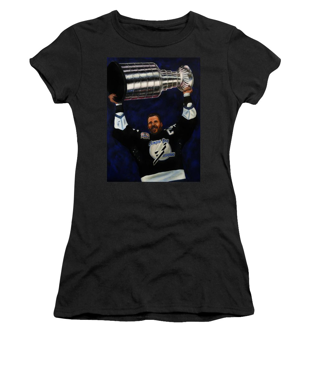 Nhl Women's T-Shirt (Athletic Fit) featuring the painting The Captain by Marlon Huynh