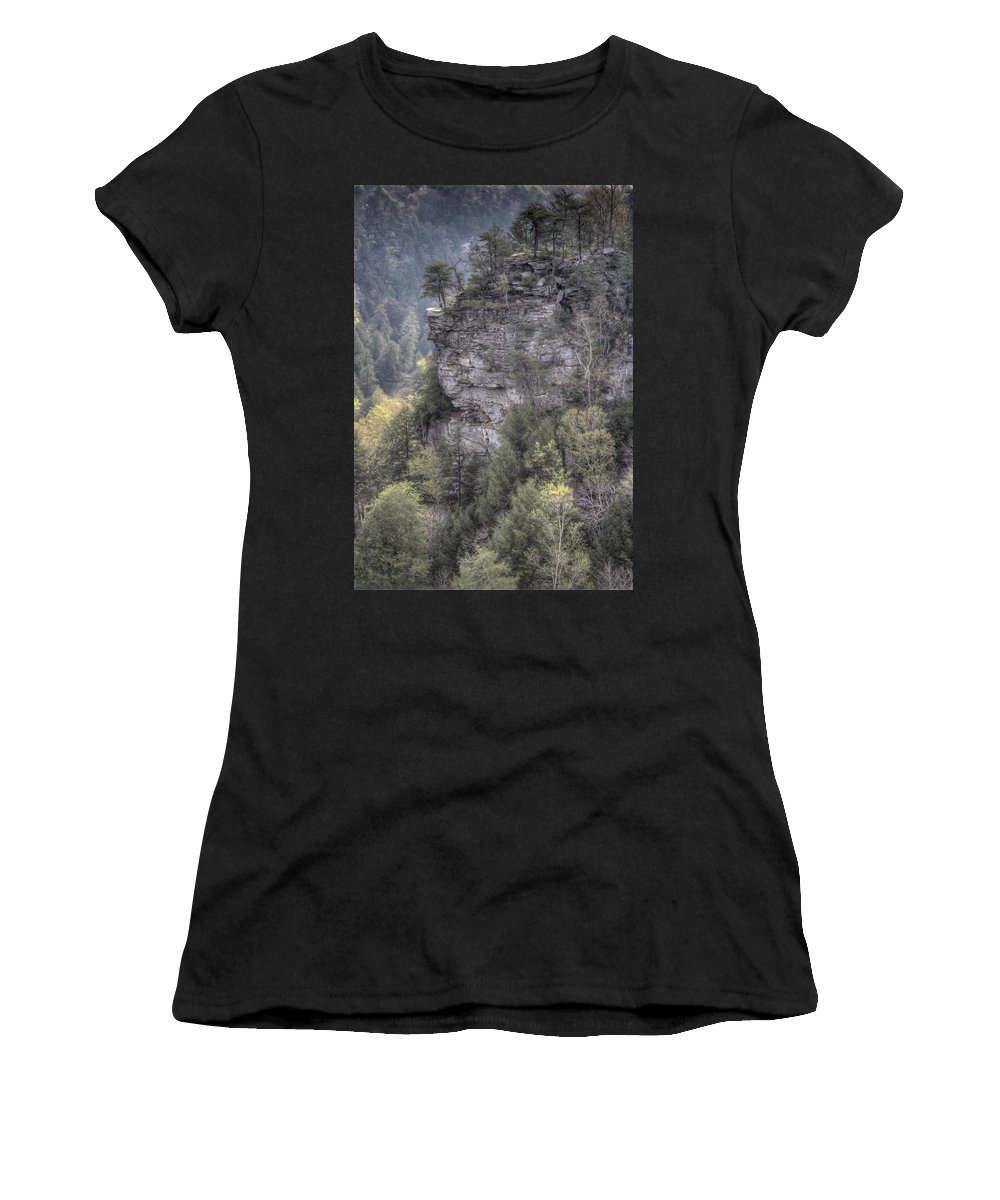Fall Creek Falls Women's T-Shirt (Athletic Fit) featuring the photograph The Cliff by David Troxel