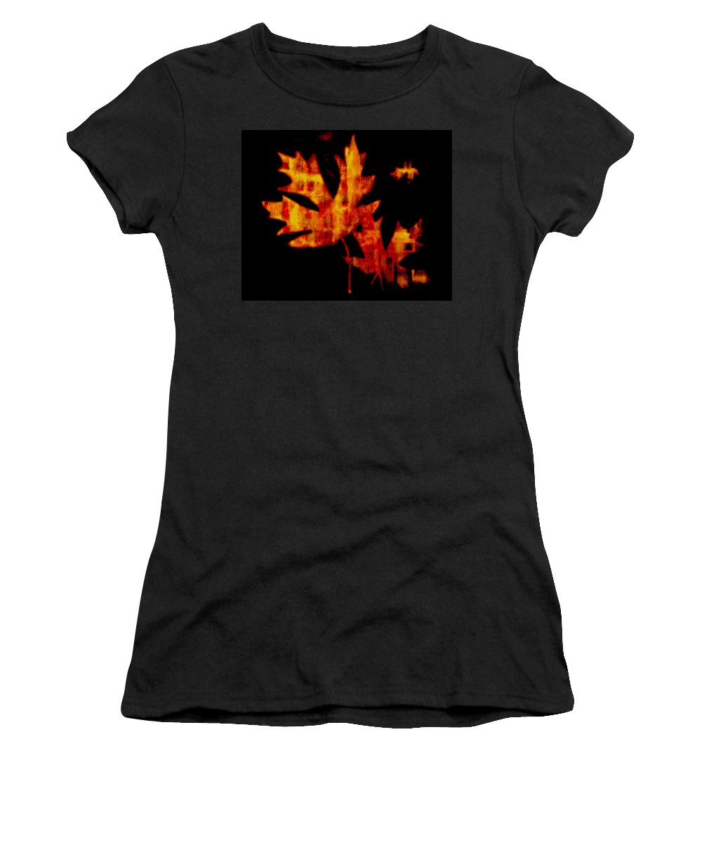 Leaf Women's T-Shirt (Athletic Fit) featuring the photograph The Color Of Autumn by Kathy Sampson