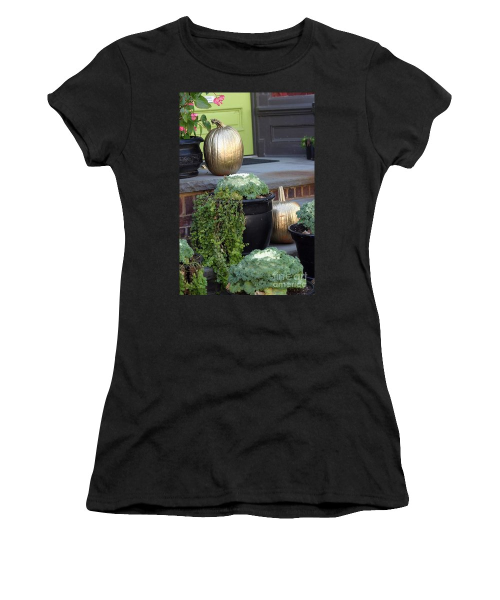 Porch Women's T-Shirt (Athletic Fit) featuring the photograph The Golden Pumpkins by Living Color Photography Lorraine Lynch