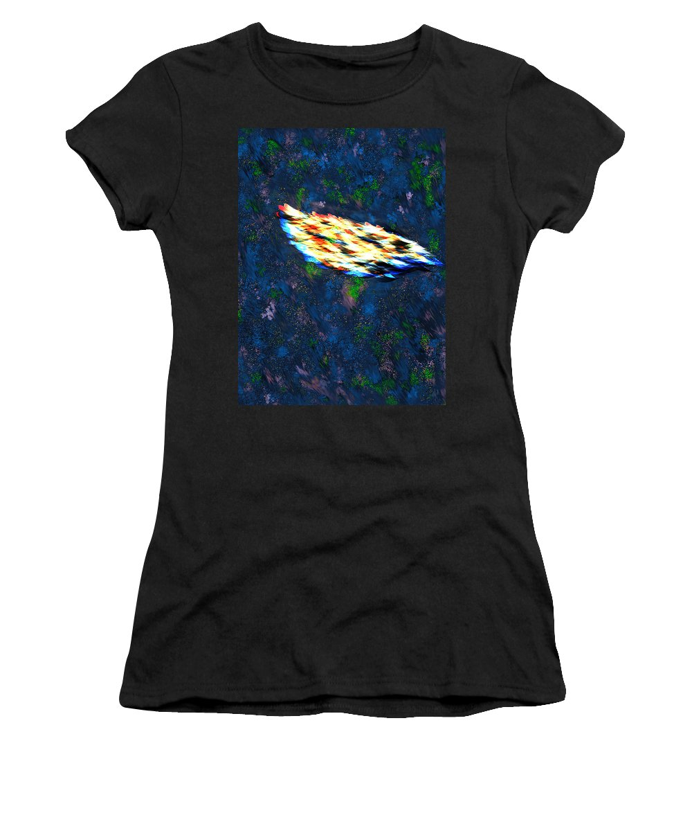 Last Women's T-Shirt (Athletic Fit) featuring the digital art The Last Angel Feather by Mathieu Lalonde