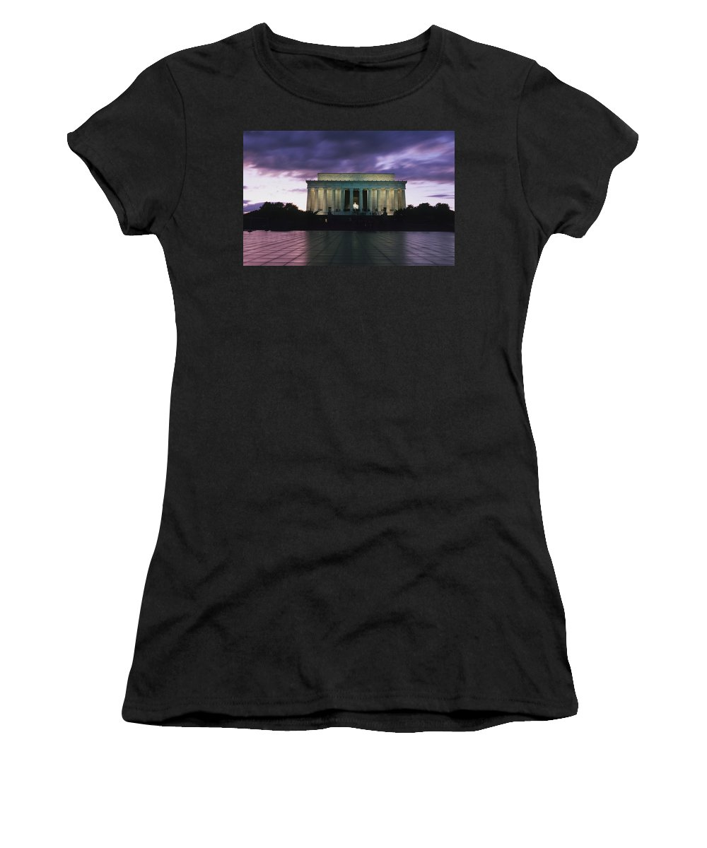 Photography Women's T-Shirt (Athletic Fit) featuring the photograph The Lincoln Memorial At West End by Axiom Photographic