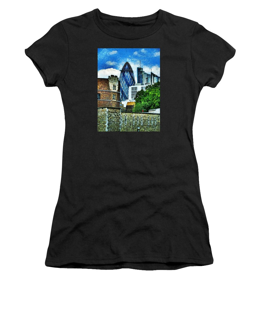 30 Women's T-Shirt (Athletic Fit) featuring the photograph The London Gherkin by Steve Taylor