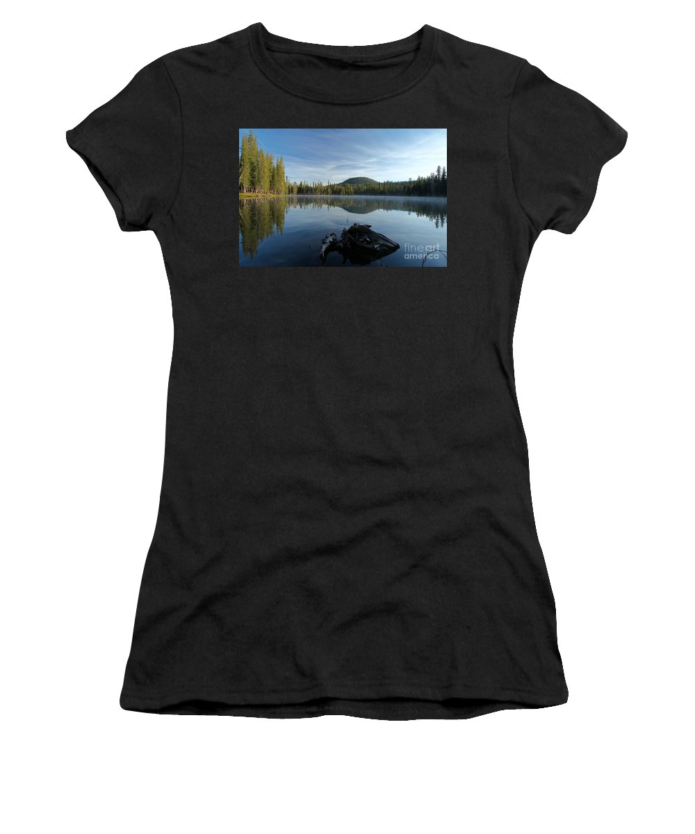 Summit Lake Women's T-Shirt (Athletic Fit) featuring the photograph The Lone Log by Adam Jewell