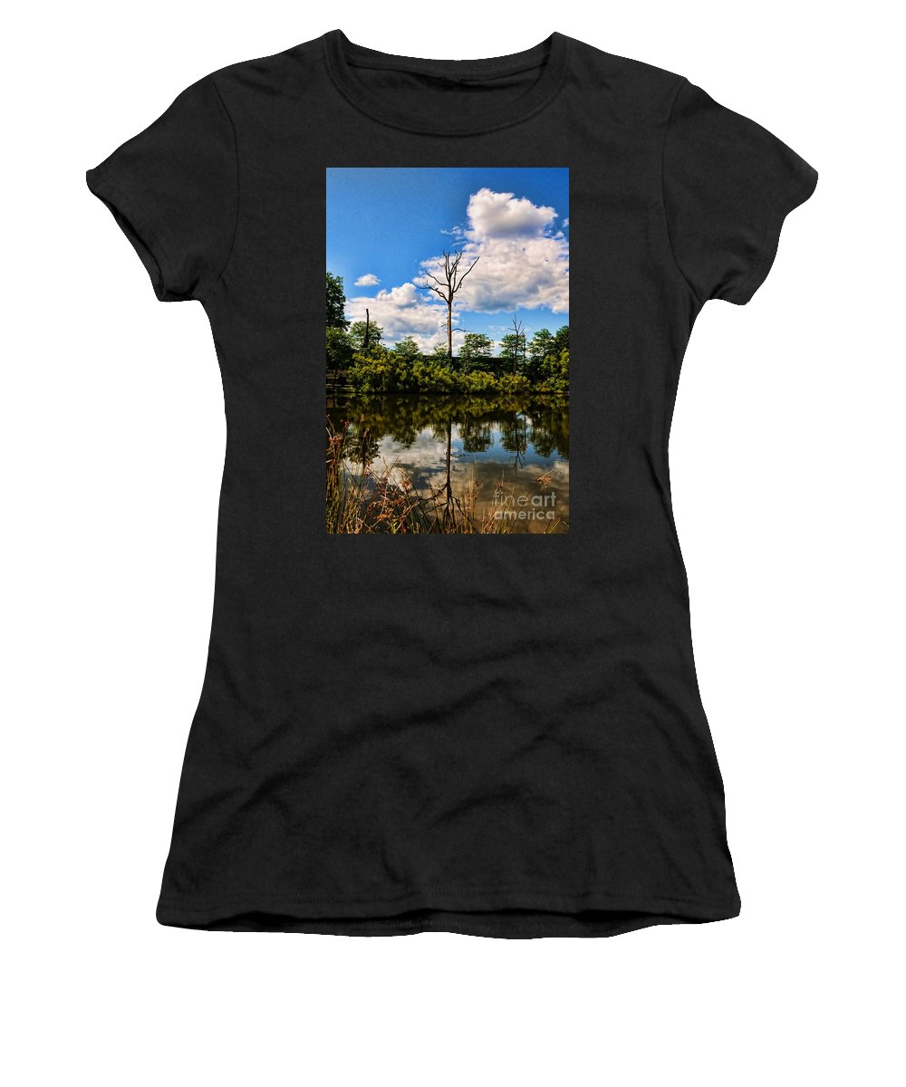 Water Clouds Women's T-Shirt featuring the photograph The Naked Tree by Paul Ward