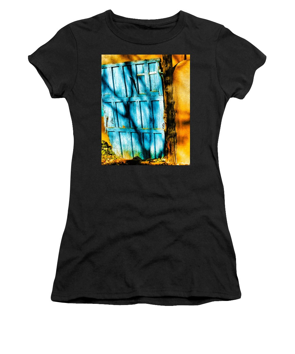 Door Women's T-Shirt (Athletic Fit) featuring the photograph The Old Blue Door by Terry Fiala