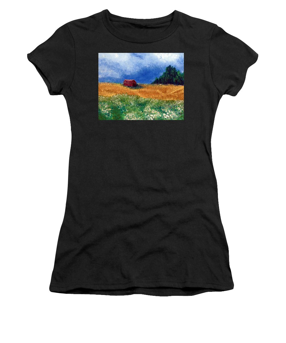 Weathered Women's T-Shirt featuring the painting The Old Red Barn by Alys Caviness-Gober