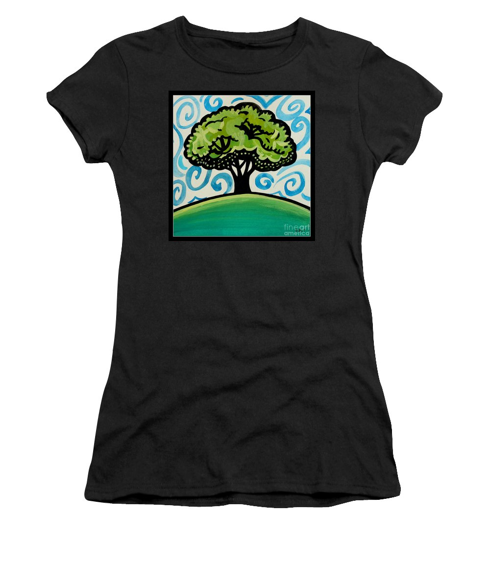 Landscape Women's T-Shirt (Athletic Fit) featuring the painting The Only Remaining Vestige by Elizabeth Robinette Tyndall