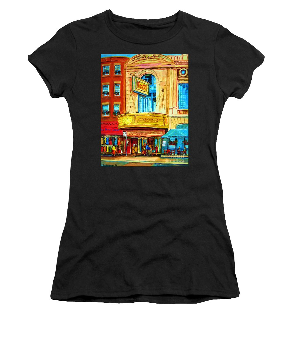 Street Scene Women's T-Shirt (Athletic Fit) featuring the painting The Rialto Theatre by Carole Spandau
