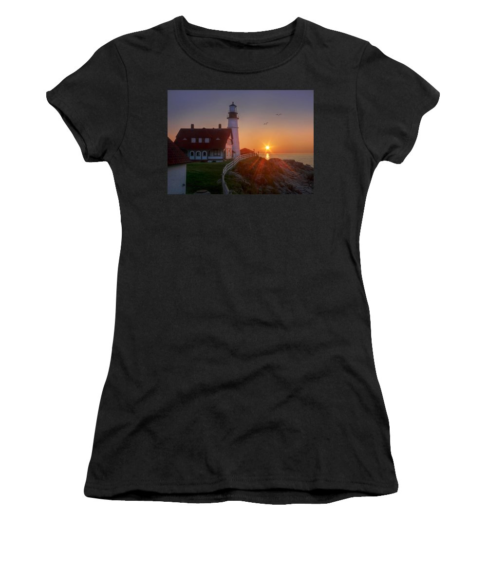 Portland Head Light Women's T-Shirt (Athletic Fit) featuring the photograph The Rock Is My Foundation by Lori Deiter