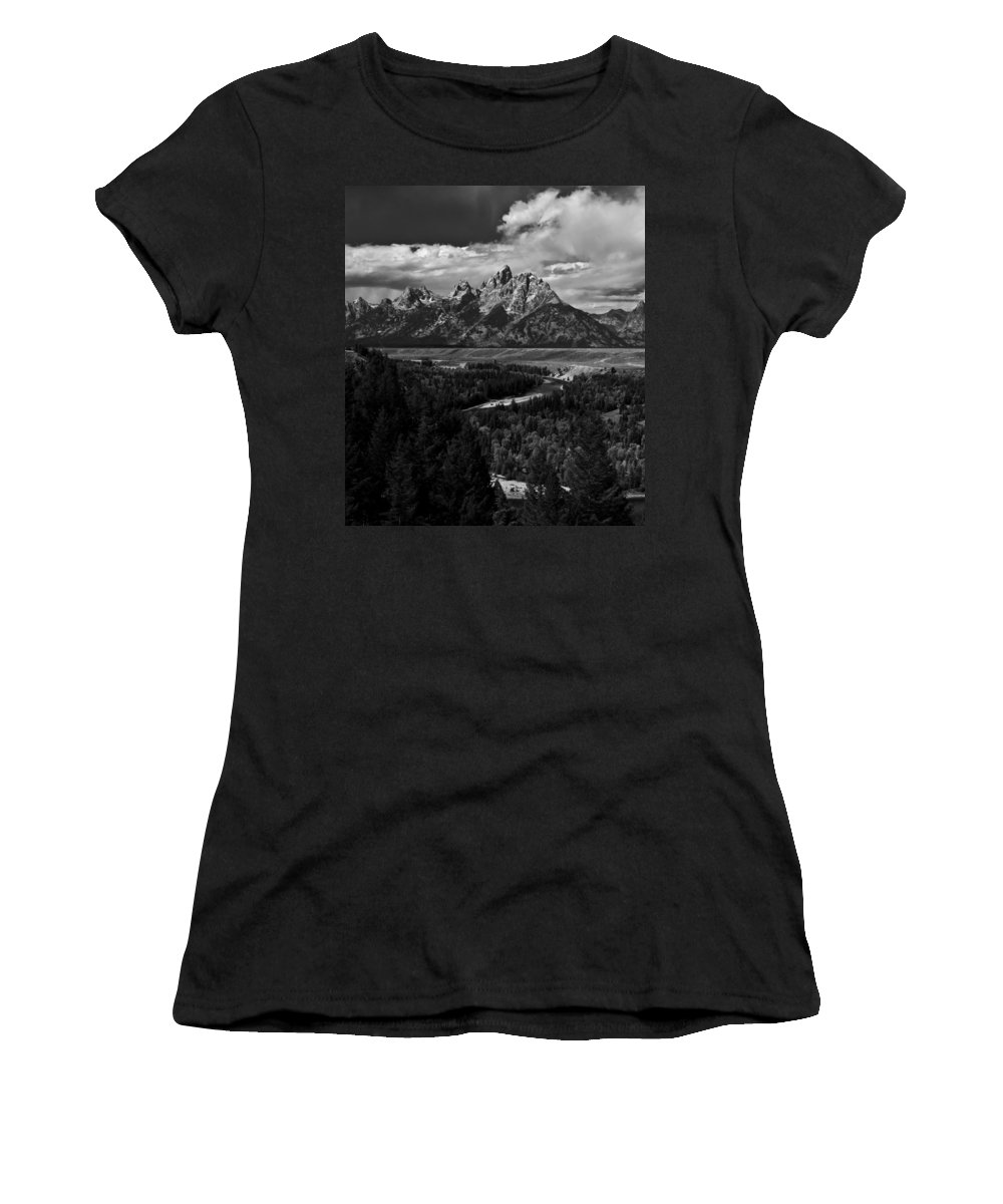 Grand Women's T-Shirt featuring the photograph The Tetons - Il Bw by Larry Carr