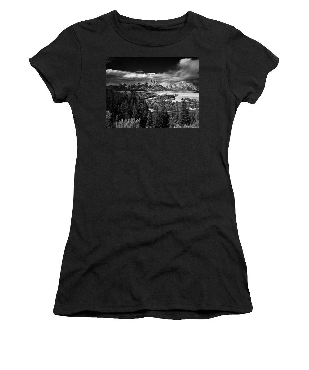 Grand Women's T-Shirt featuring the photograph The Tetons by Larry Carr