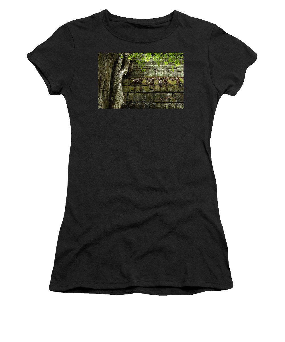 Travel Women's T-Shirt (Athletic Fit) featuring the photograph The Wall Ta Prohm 2 by Bob Christopher