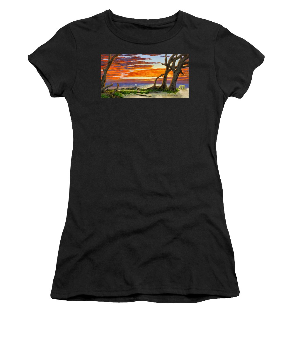 Landscape Women's T-Shirt featuring the painting The Yellow Bench by Jim Ziemer