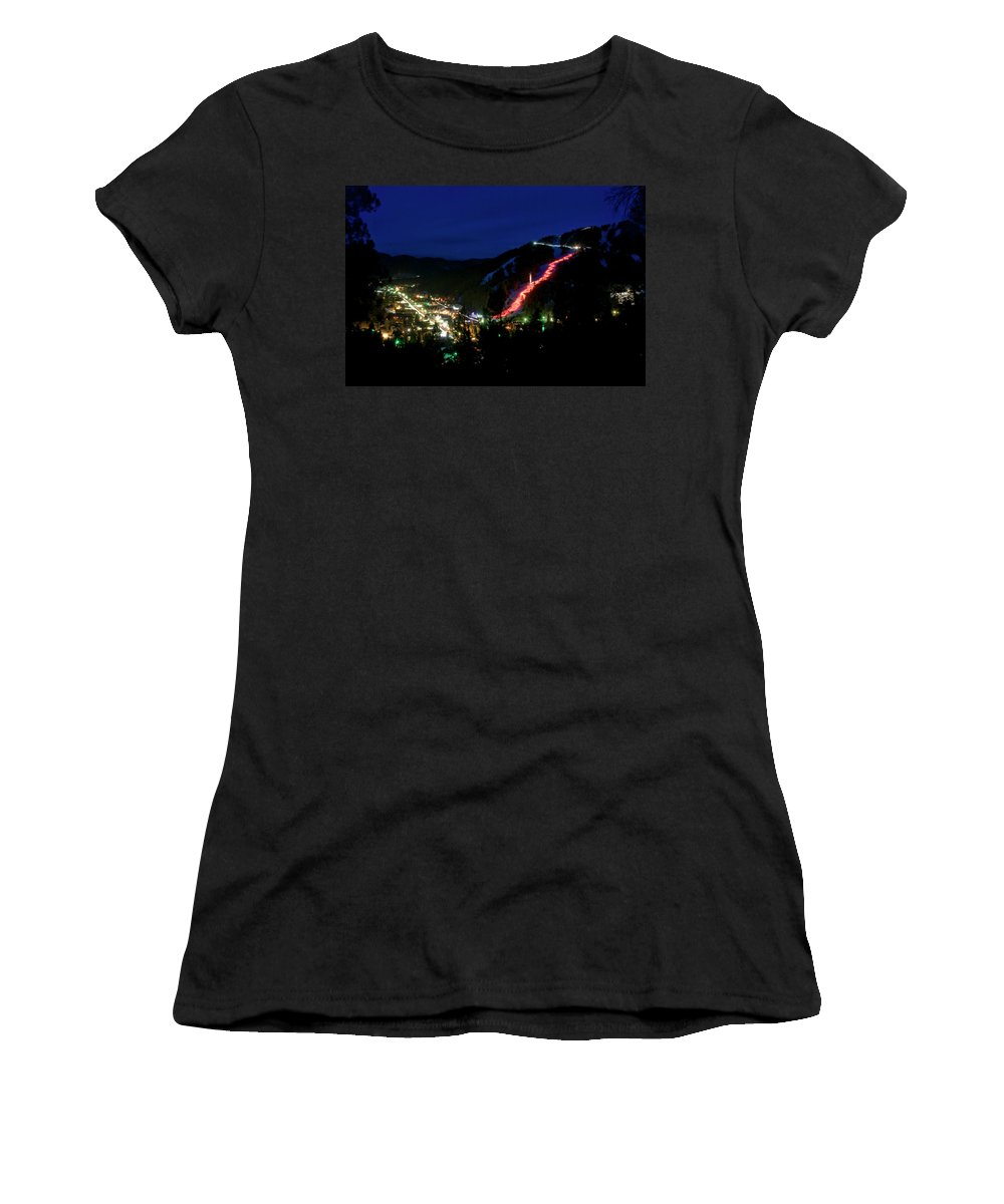 Red River Women's T-Shirt (Athletic Fit) featuring the photograph Torchlight Parade by Ron Weathers
