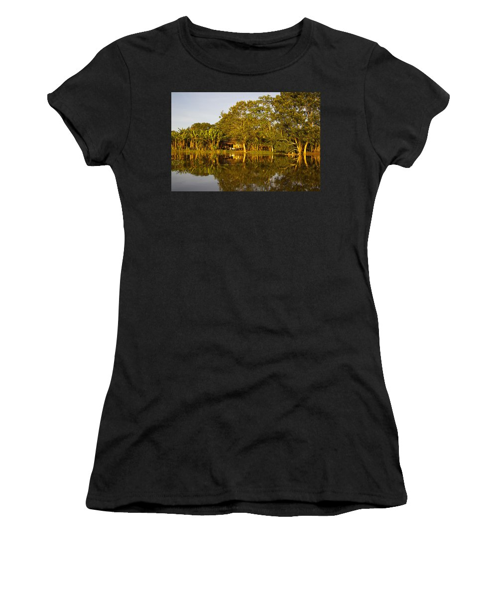 Color Image Women's T-Shirt (Athletic Fit) featuring the photograph Traditional Amazon Village by Axiom Photographic