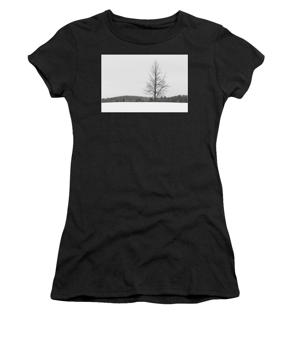 Landscape Women's T-Shirt (Athletic Fit) featuring the photograph Tree And Snow by Jiayin Ma