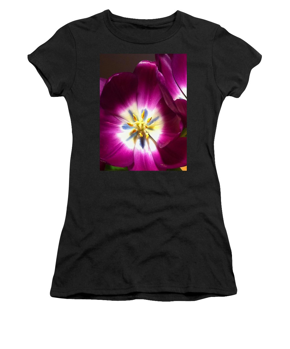 Tulips Women's T-Shirt featuring the photograph Tulip Overture by Kathy Corday