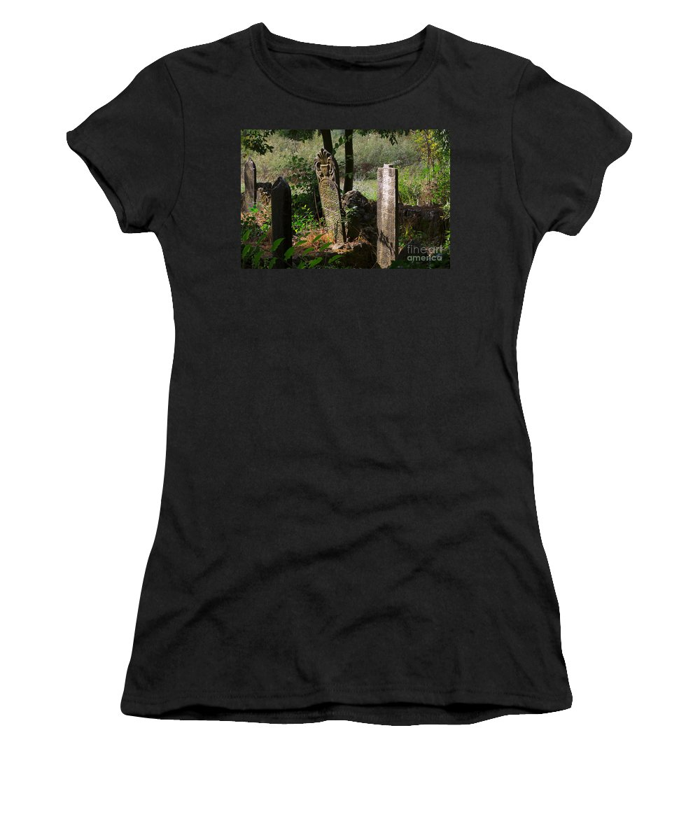 Cemetery Women's T-Shirt featuring the photograph Turkish Cemetery In Rural Mugla Province by Louise Heusinkveld
