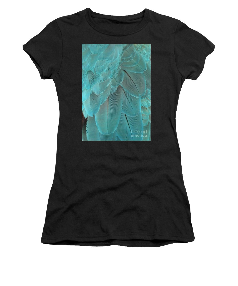 Feather Women's T-Shirt (Athletic Fit) featuring the photograph Turquoise Blue Feathers by Sabrina L Ryan