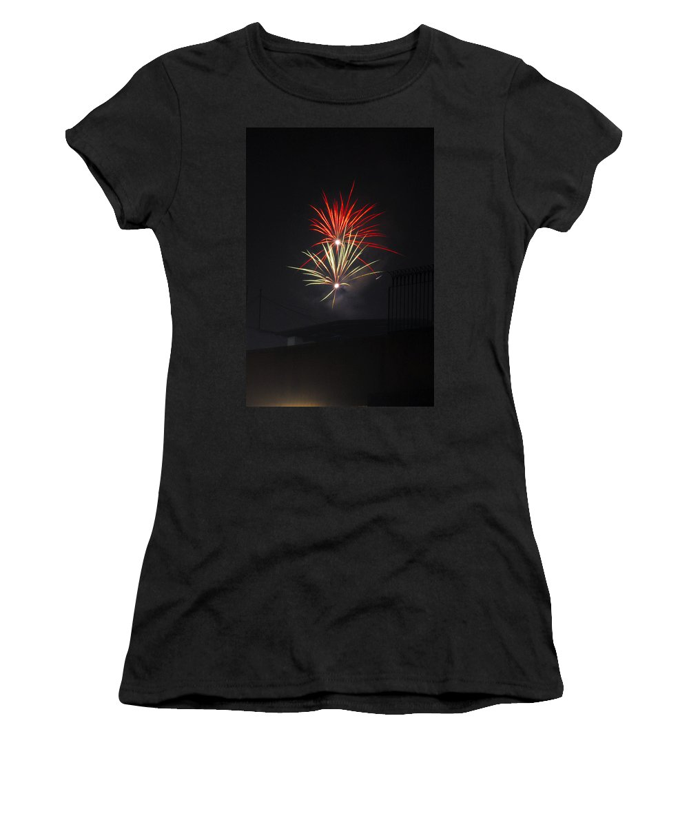 Aerials Women's T-Shirt featuring the painting Twin Fireworks by Sumit Mehndiratta