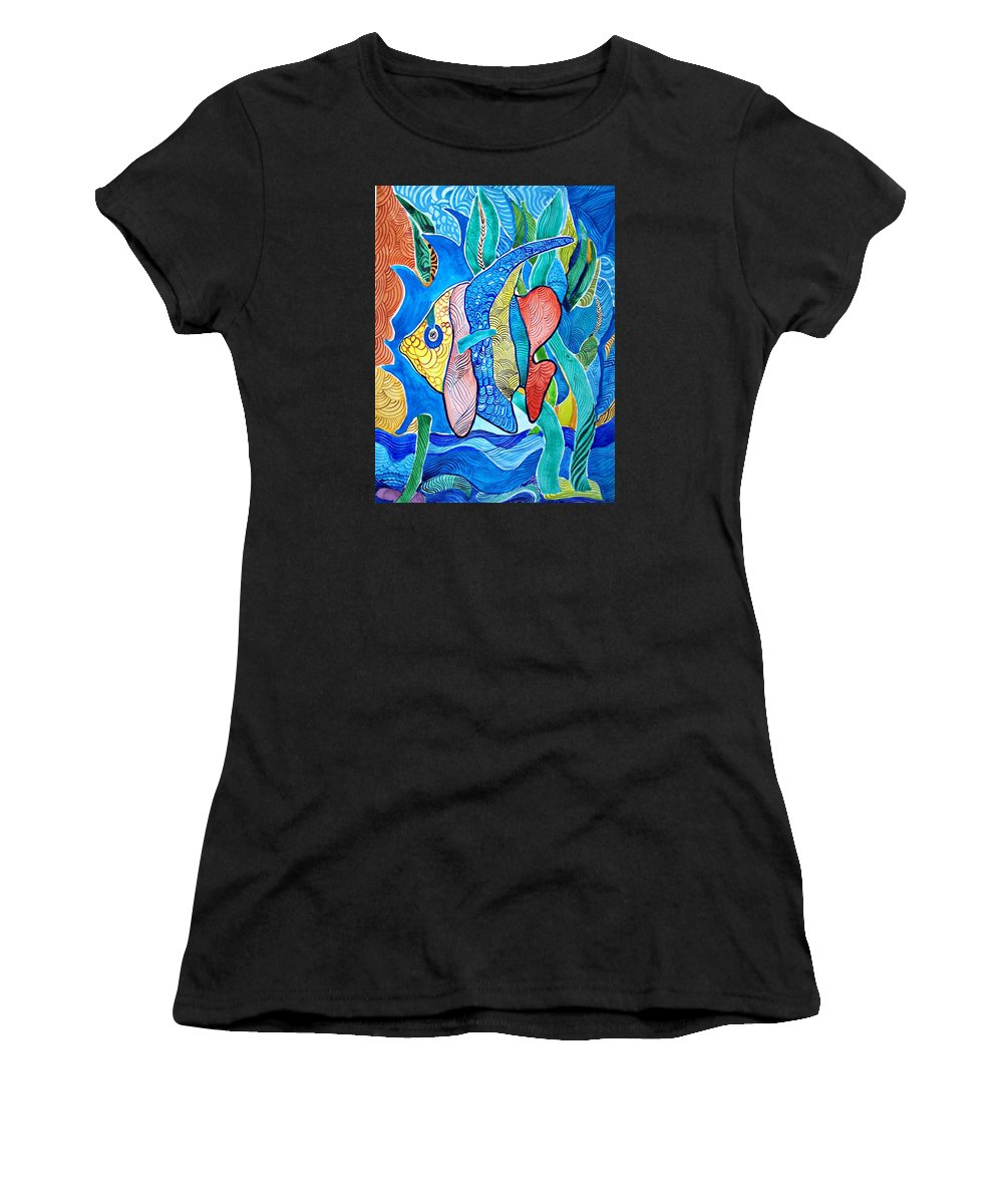 Watercolor Fish Prints Women's T-Shirt featuring the painting Under The Sea by Sandra Lira
