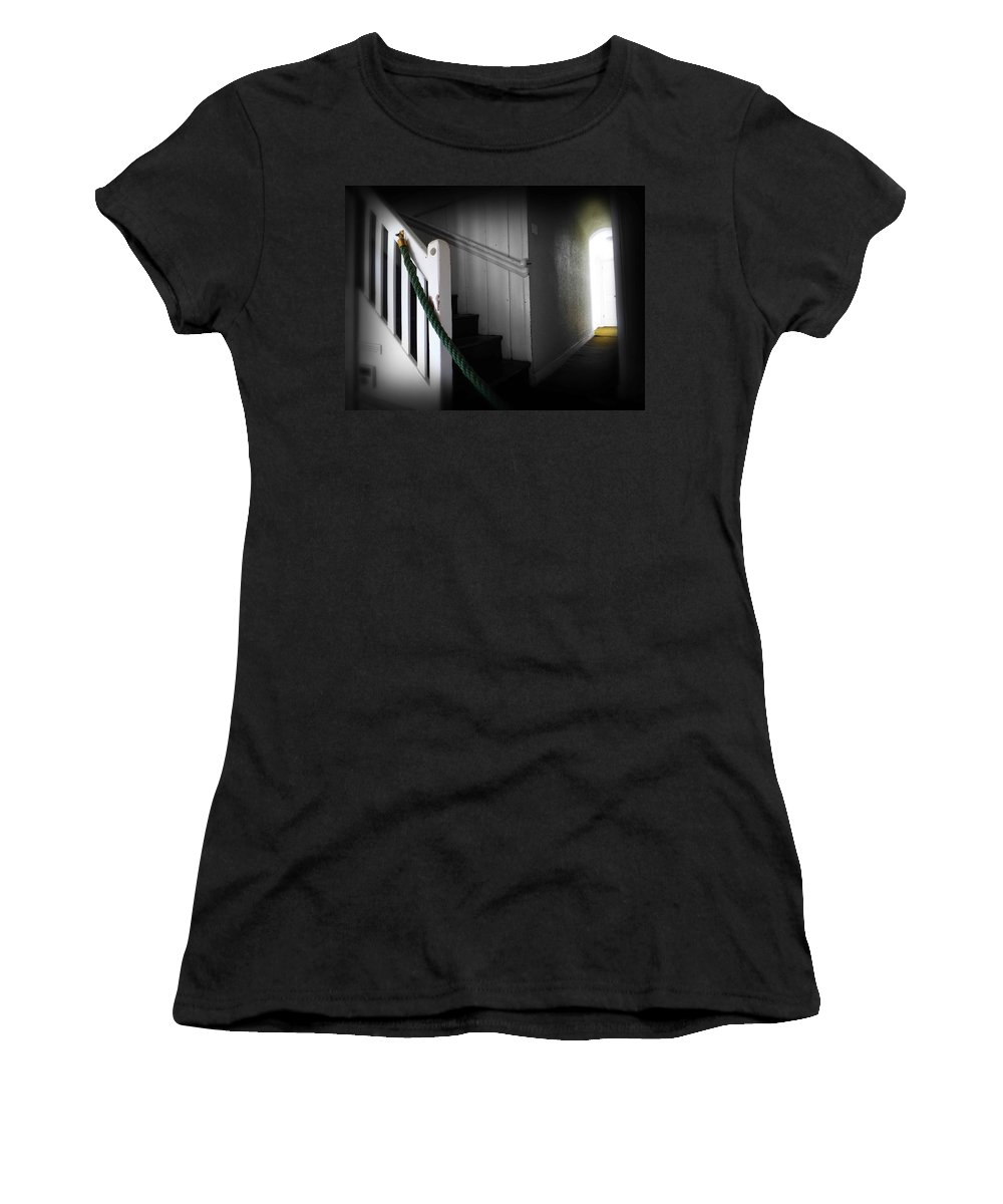 Stairs Women's T-Shirt (Athletic Fit) featuring the photograph Up The Wooden Hill by Charles Stuart
