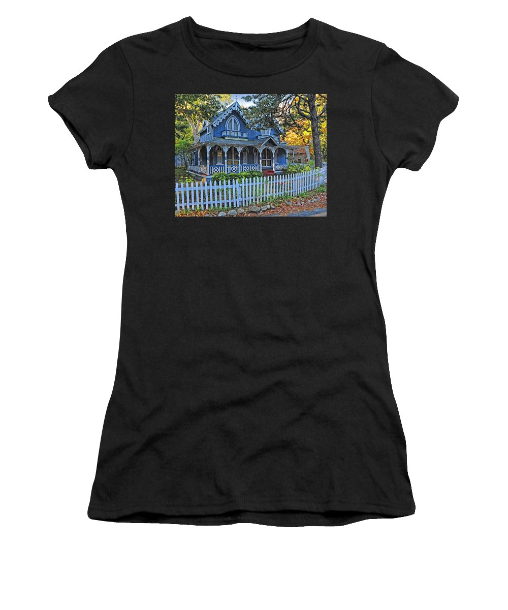 Marthas Vineyard Women's T-Shirt (Athletic Fit) featuring the photograph Victorian Home Marthas Vineyard by Dave Mills