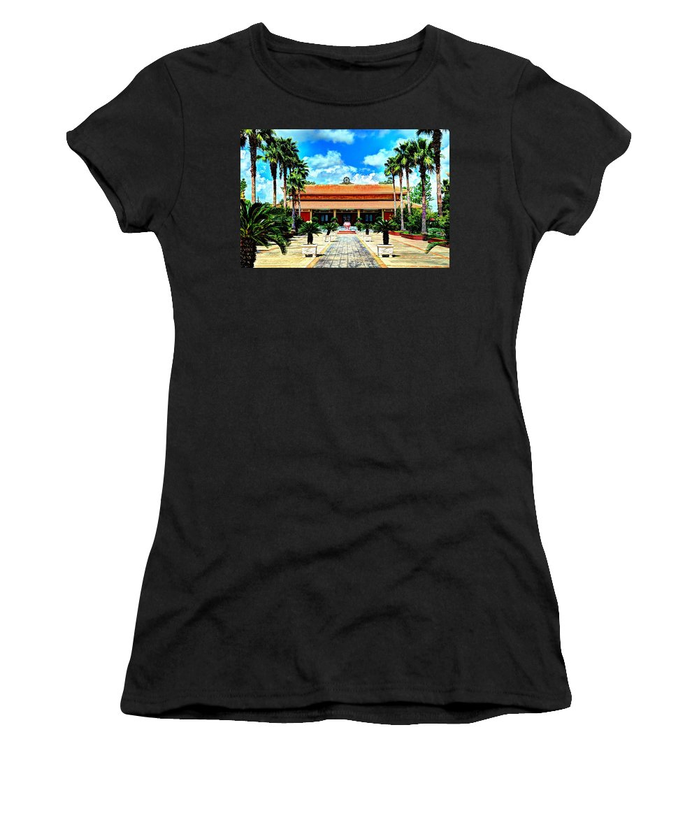 Buddhist Women's T-Shirt (Athletic Fit) featuring the photograph Vietnamese Buddhist Temple by David Morefield