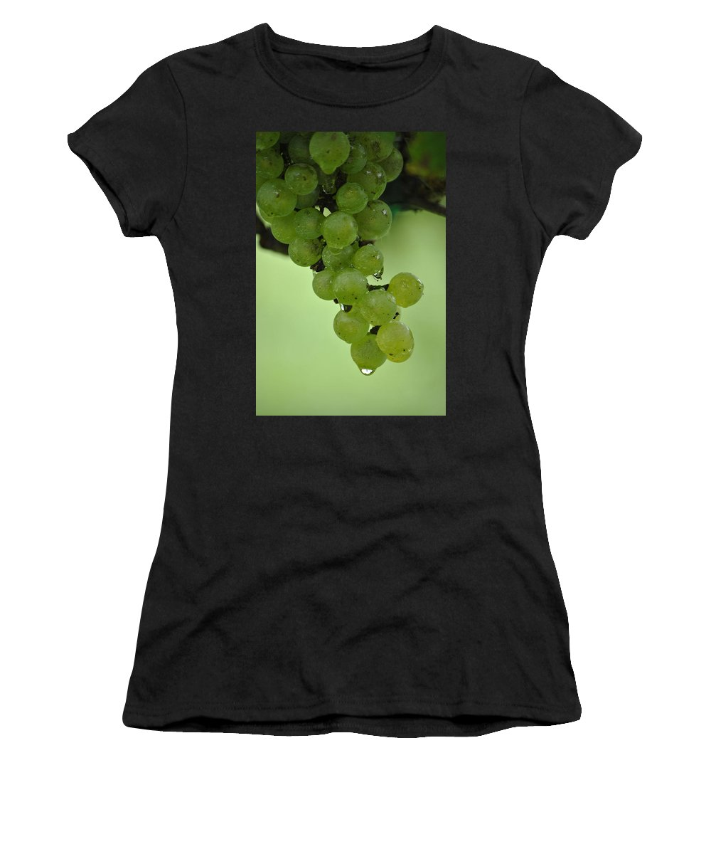 Grapevine Print Women's T-Shirt (Athletic Fit) featuring the photograph Vineyard Grapes I by Deborah M Rinaldi