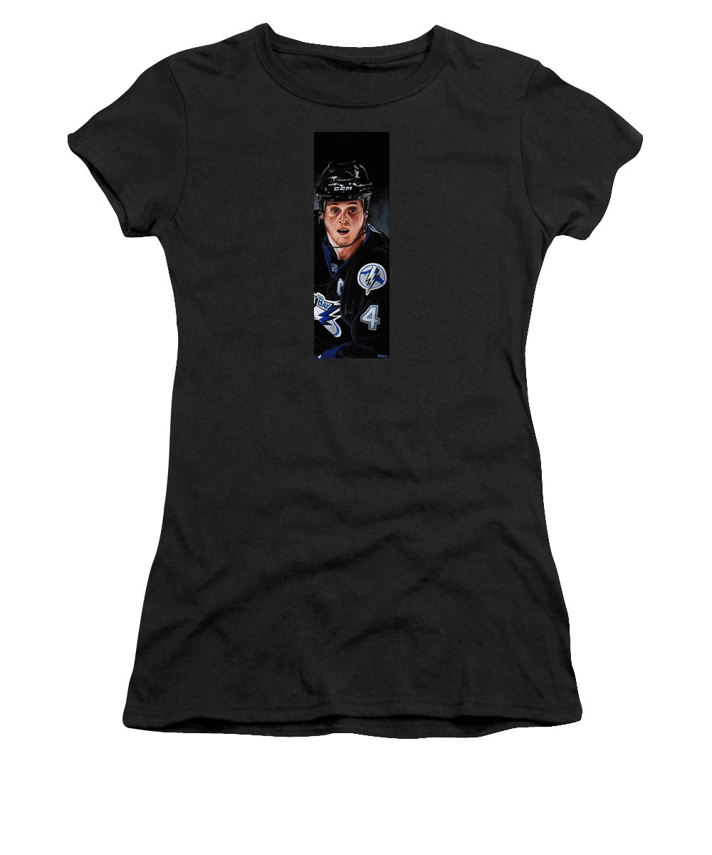 Nhl Women's T-Shirt (Athletic Fit) featuring the painting Vinny Lecavalier by Marlon Huynh