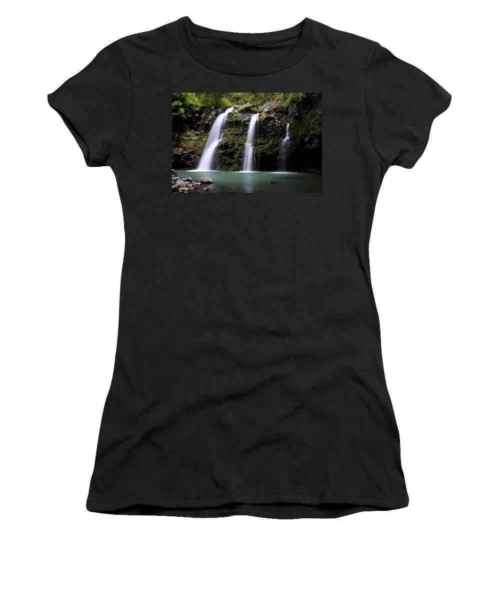 Beauty Women's T-Shirt (Athletic Fit) featuring the photograph Waikani Falls And Pond II by Jenna Szerlag