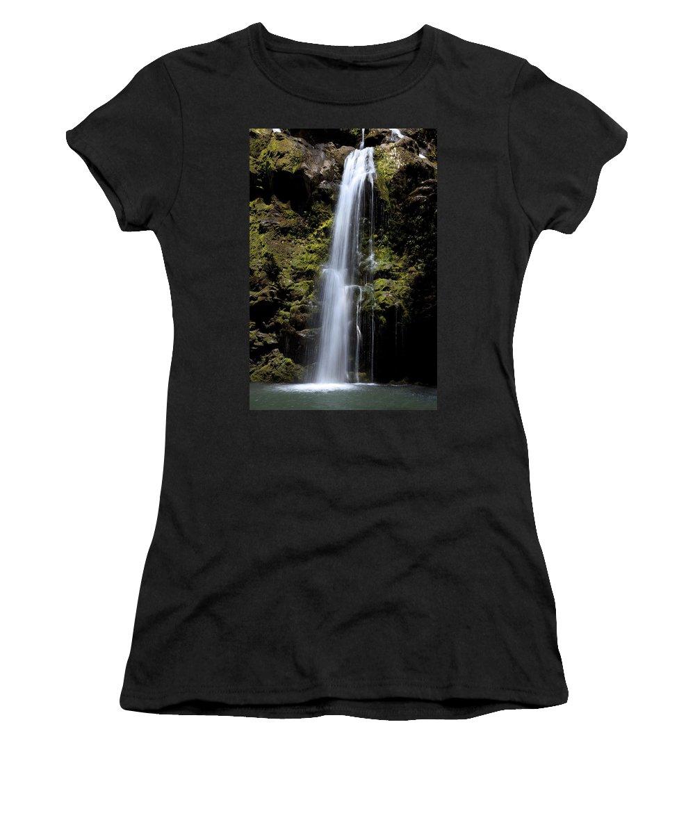 Beauty Women's T-Shirt (Athletic Fit) featuring the photograph Waikani Waterfall by Jenna Szerlag