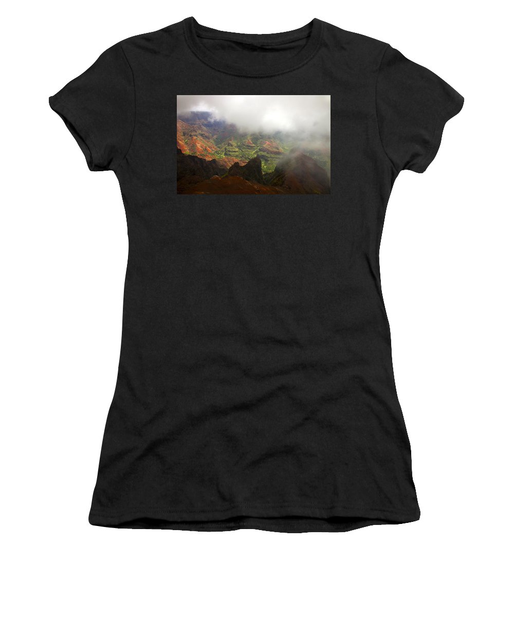 Waimea Canyon Women's T-Shirt (Athletic Fit) featuring the photograph Waimea Revealed by Mike Dawson