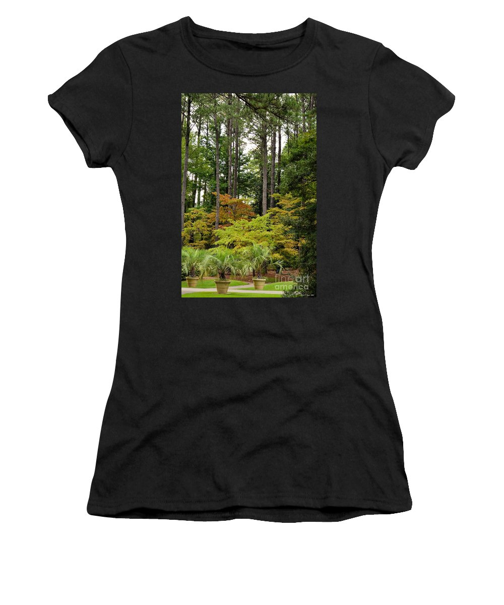 Walkway Women's T-Shirt (Athletic Fit) featuring the photograph Walking Through An Autumn Garden by Maria Urso