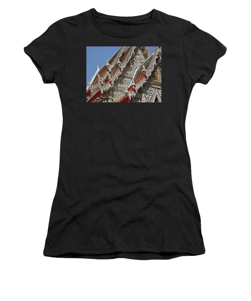 Bangkok Women's T-Shirt featuring the photograph Wat Suan Phlu Ubosot Angel Gable Finials Dthb227 by Gerry Gantt