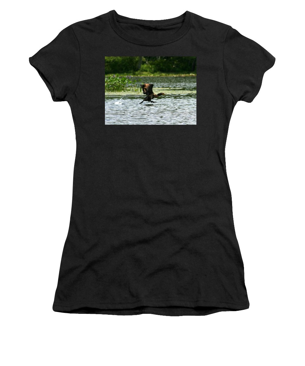 Duck Women's T-Shirt (Athletic Fit) featuring the photograph Water Run by Neal Eslinger