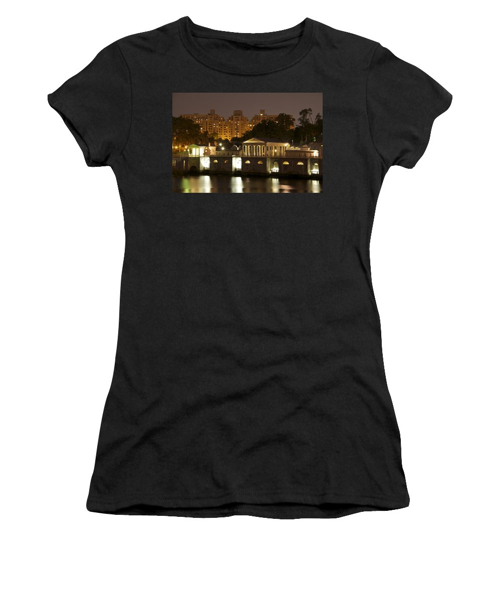 Waterworks Restaurant Nighttime Scenic Night Apartments Philadelphia Philly Pa Women's T-Shirt featuring the photograph Waterworks At Dusk by Alice Gipson