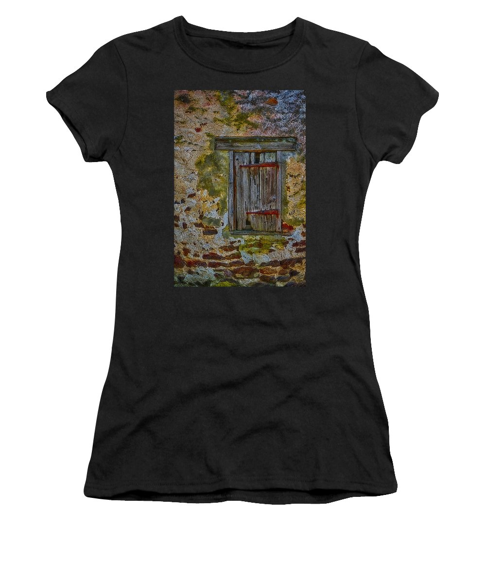 Window Women's T-Shirt (Athletic Fit) featuring the photograph Weathered Vibrancy by Susan Candelario