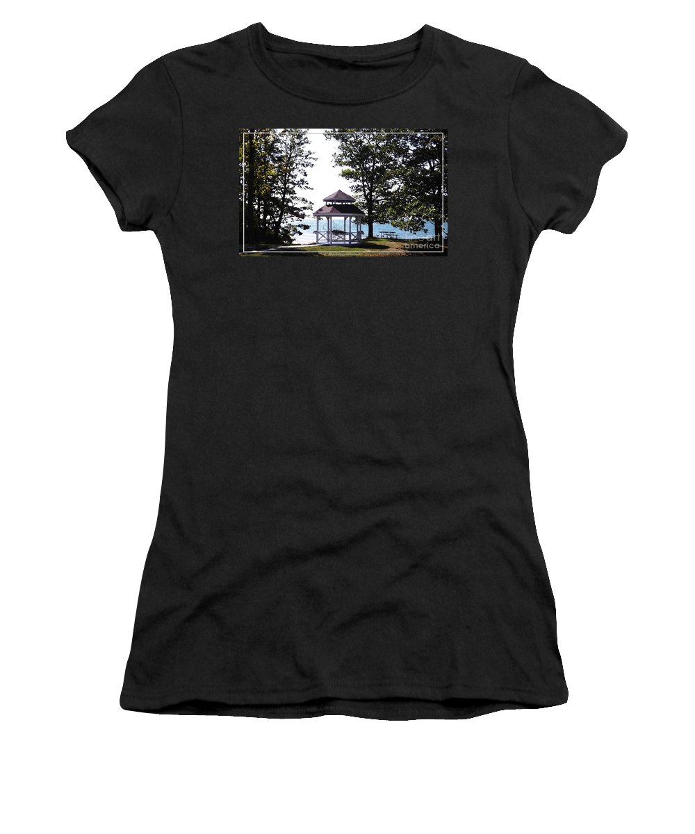 Wedding Gazebo Women's T-Shirt (Athletic Fit) featuring the photograph Wedding Gazebo By Lake Erie At Evangola State Park by Rose Santuci-Sofranko