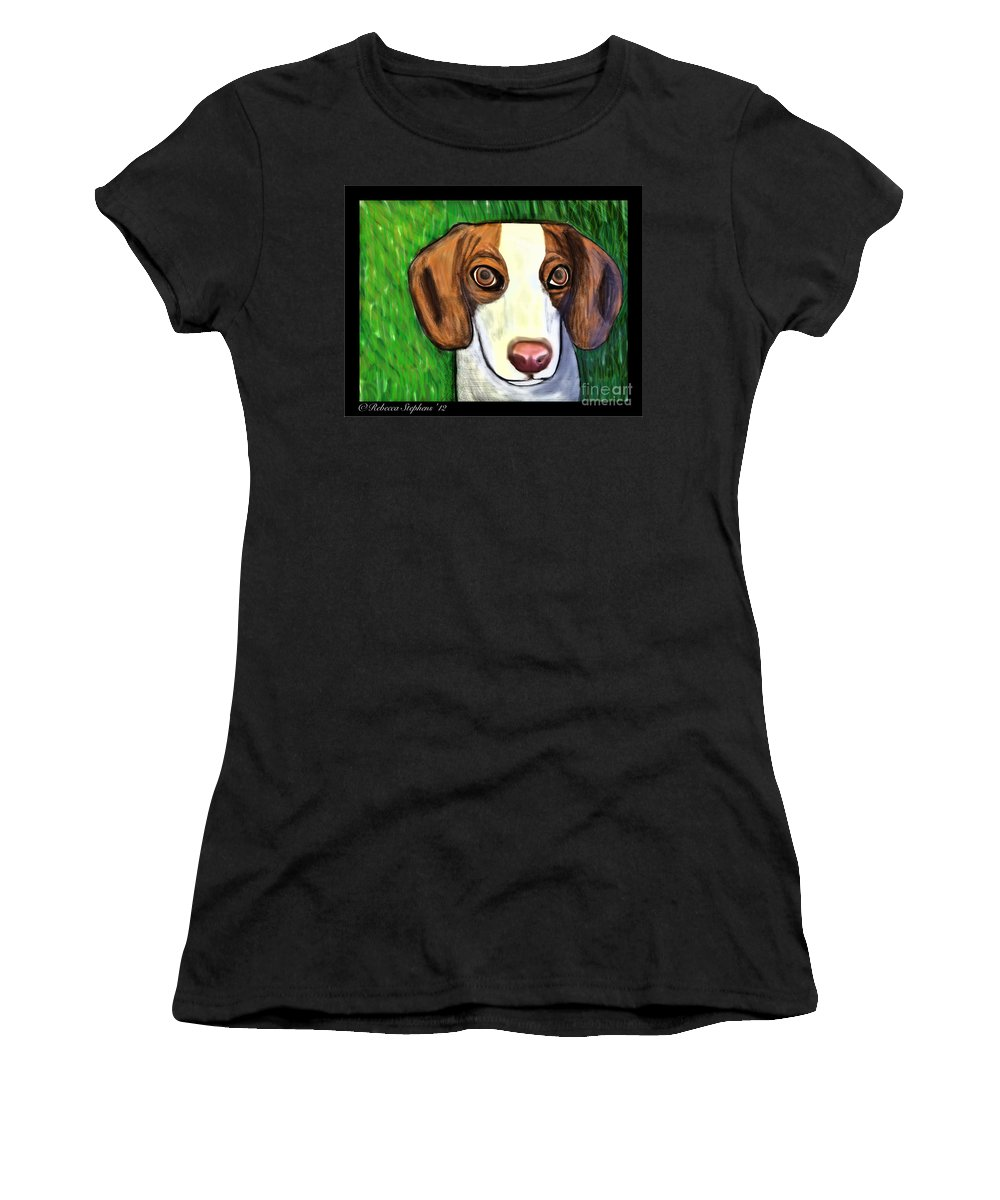 Beagle Women's T-Shirt featuring the painting Wee Beagle by Rebecca Stephens