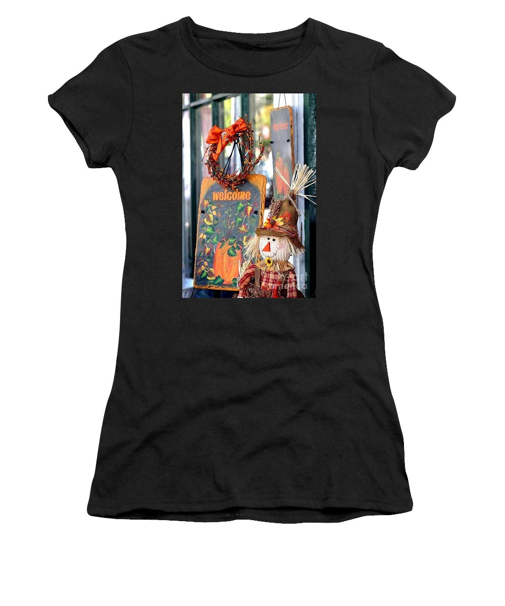 Welcome Women's T-Shirt (Athletic Fit) featuring the photograph Welcome Fall by Living Color Photography Lorraine Lynch
