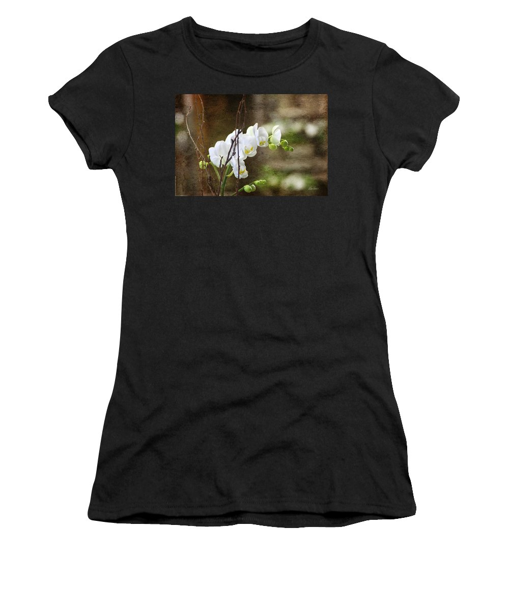 White Women's T-Shirt (Athletic Fit) featuring the photograph White Orchid by Diana Haronis