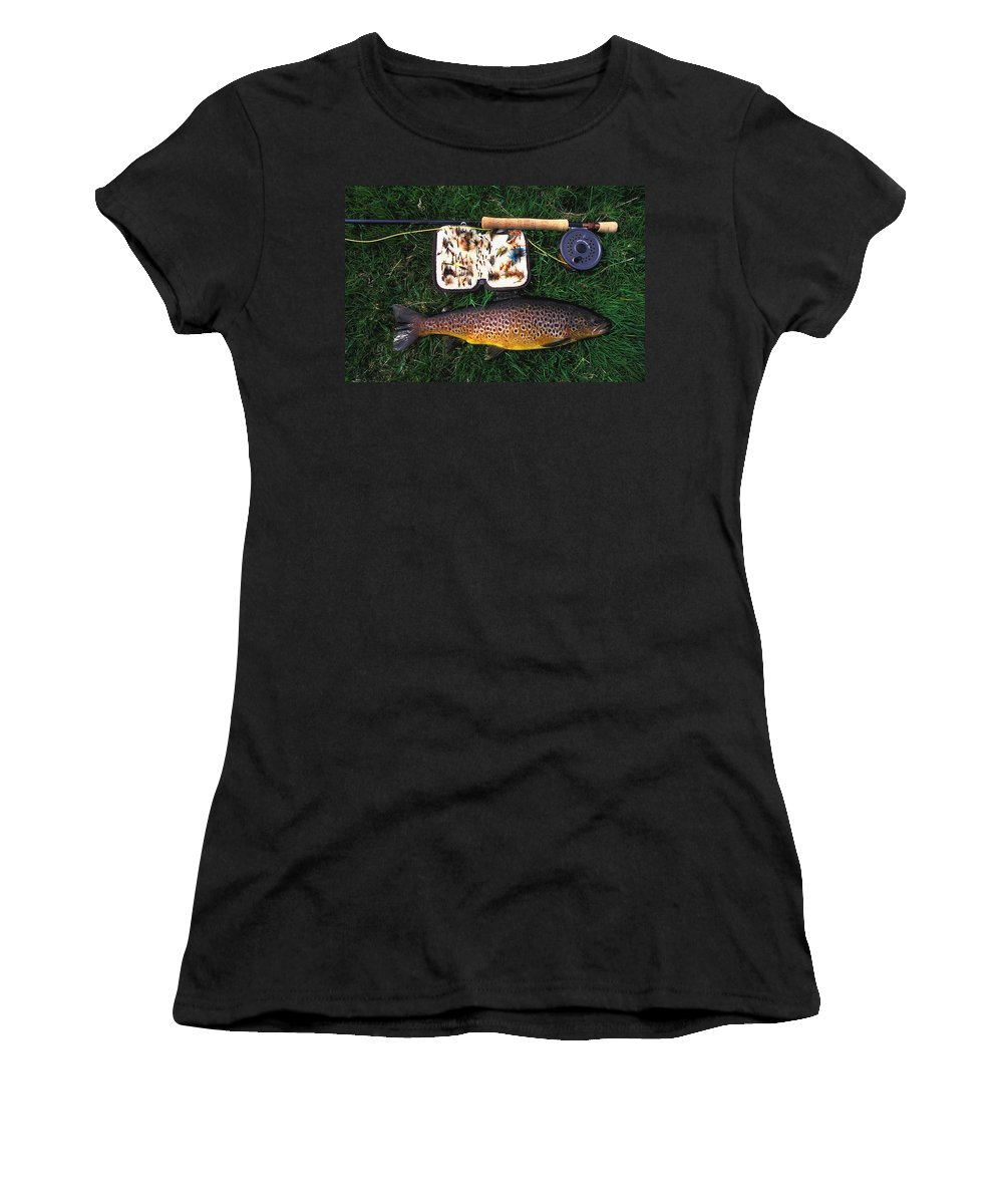Wild Brown Trout Women's T-Shirt (Athletic Fit) featuring the photograph Wild Brown Trout And Fishing Rod by Axiom Photographic